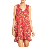 Charles Henry Floral Print Trapeze Dress