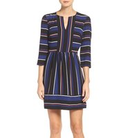 Charles Henry Stripe Woven Fit Flare Dress