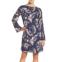 Chelsea28 Print Long Sleeve Shift Dress