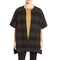 Eileen Fisher Reversible Stripe Round Neck Felted Merino Wool Poncho