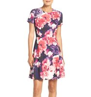 Eliza J Floral Print Fit Flare Dress