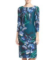 Eliza J Floral Print Ponte Sheath Dress