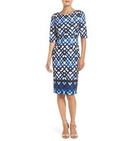 Eliza J Print Ponte Sheath Dress