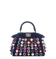 Fendi Mini Peekaboo Multistuds Velvet Bag