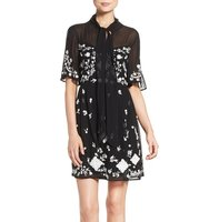 French Connection Midnight Garden Embroidered Woven Fit Flare Dress