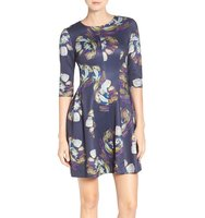 Gabby Skye Floral Print Fit Flare Dress