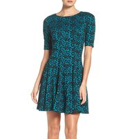 Gabby Skye Jacquard Fit Flare Dress