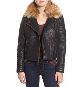 Marc New York By Andrew Marc Vanessa Faux Leather Moto Jacket With Removable Faux Fur Collar