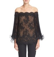 Marchesa Flutter Sleeve Corded Lace Off The Shoulder Illusion Top