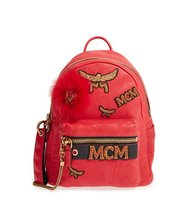 Mcm Small Stark Insignia Leather Backpack With Genuine Fox Fur Trim