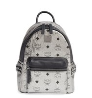 Mcm Small Stark Studded Coated Canvas Leather Backpack