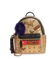 Mcm Stark Insignia Metallic Leather Backpack With Genuine Fox Fur Trim