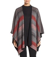 Ming Wang Reversible Knit Poncho Jacket
