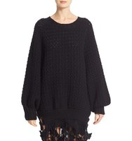 Simone Rocha Long Chunky Knit Wool Sweater With Fringe