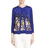 St John Collection Floral Print Silk Blend Cardigan