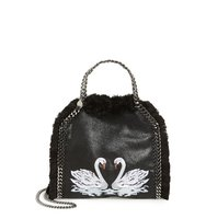 Stella Mccartney Mini Falabella Shaggy Deer Embroidered Faux Leather Crossbody Bag