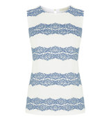Oasis Chambray Lace Stripe Shell