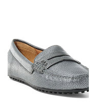 Ralph Lauren Belen Metallic Leather Loafer Pewter 55