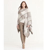 Ralph Lauren Plaid Wool Blend Poncho Grey