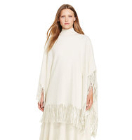 Ralph Lauren Polo Fringe Wool Blend Poncho Essex