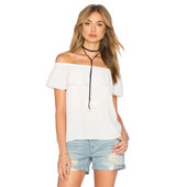 1 STATE Cold Shoulder Ruffle Blouse in White