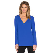 1 STATE Long Sleeve V Neck Top in Blue