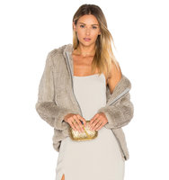 Adrienne Landau Knit Rabbit Fur Hoodie in Light Gray