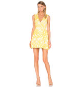 Alice Olivia Pacey Embroidered Dress in Yellow