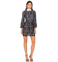 Alice Olivia Terisa Fit Flare Lace Dress in Black and White