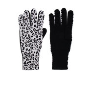 Autumn Cashmere Leopard Gloves in Black