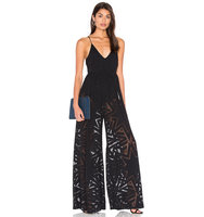 Mara Hoffman Compass Burn Out Wide Leg Jumpsuit in Black