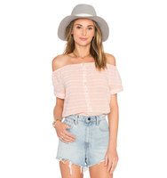 Mara Hoffman Off The Shoulder Button Down Top in Pink