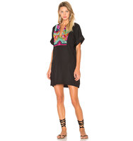 Mara Hoffman Radial Embroidery Tunic Dress in Black