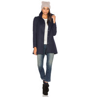 OLCAY GULSEN A Line High Neck Coat in Blue