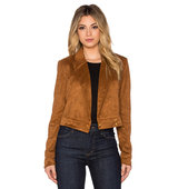 OLCAY GULSEN Faux Suede Jacket in Tan