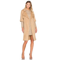 OLCAY GULSEN Short Sleeve Flap Coat in Tan