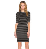 OLCAY GULSEN Striped Dress in Black and White