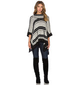 Splendid Sonoran Stripe Loose Knit Poncho in Black