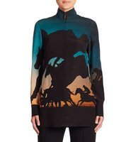 Akris Printed Silk Tunic Blouse