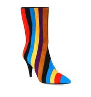 Alice Olivia Calix Stripe Suede Point Toe Boots