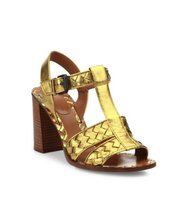 Bottega Veneta Intrecciato Metallic Leather T Strap Sandals