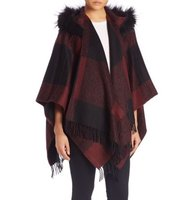 Burberry Buffalo Check Hooded Wool Cashmere Fox Fur Poncho