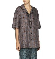 Burberry Tile Print Mulberry Silk Shirt