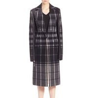 Calvin Klein Collection Leather Plaid Wool Overcoat