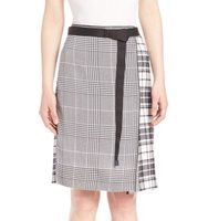 Calvin Klein Collection Runway Houndstooth Plaid Silk Skirt