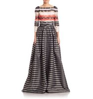 Carolina Herrera Sequin Embroidered Striped Jacquard Gown