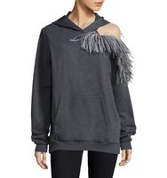 Christopher Kane Feather Detail Cold Shoulder Hoodie