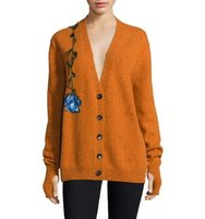 Christopher Kane Flower Embroidered Wool Cardigan