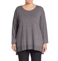 Eileen Fisher Plus Size Merino Wool Hi Lo Sweater