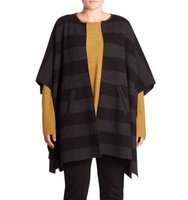 Eileen Fisher Plus Size Reversible Striped Poncho